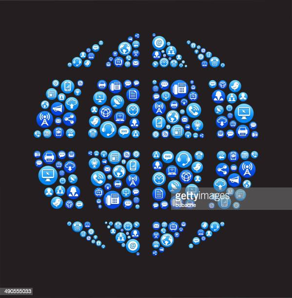 globe royalty-free vector social networking and internet icon set - abc broadcasting company stock illustrations