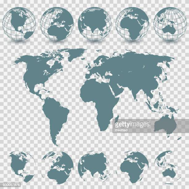 illustrazioni stock, clip art, cartoni animati e icone di tendenza di globe set and world map - pianeta terra