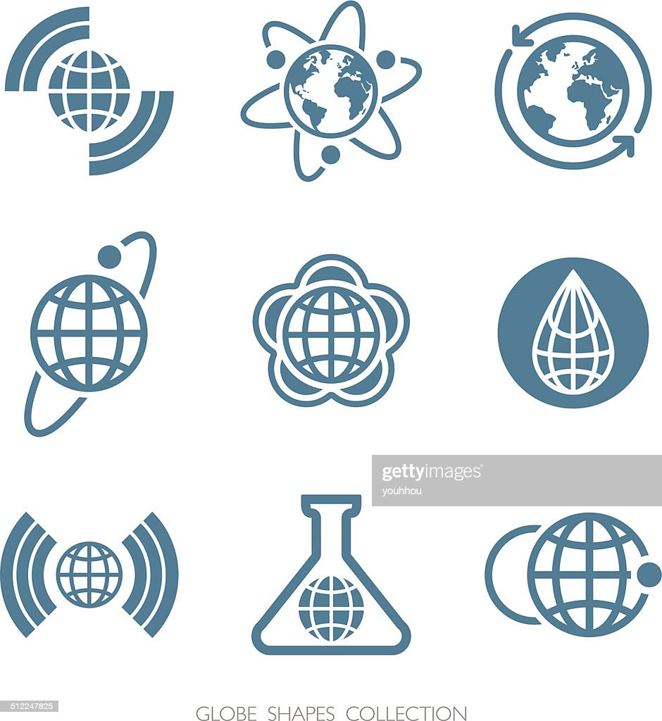 Globe Shapes Collection. Vector icon set.