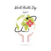 Globe sign,human hand and stethoscope vector logo design template.World Health Day icon.World Health Day idea campaign concept for greeting card and poster.