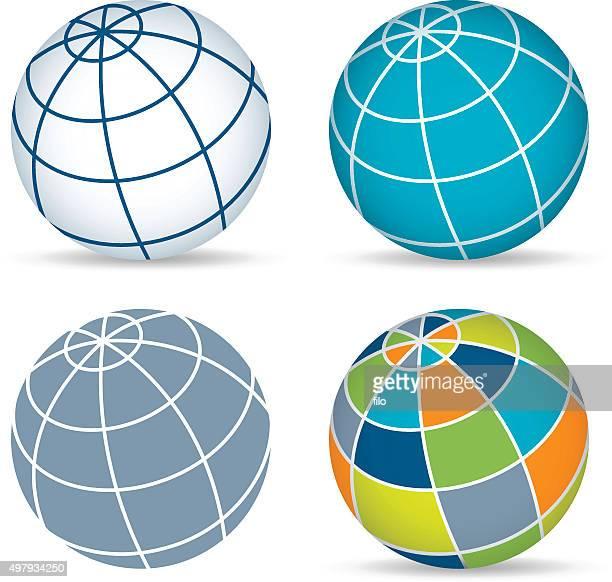 globe sphere symbols - latitude stock illustrations
