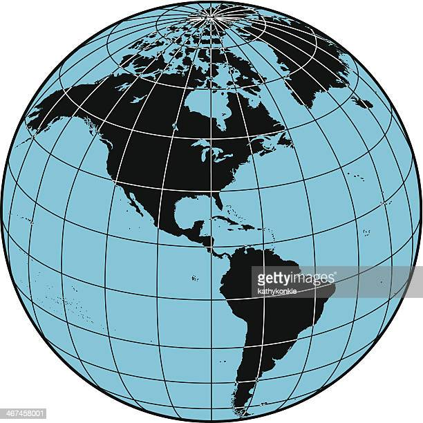 globe the americas - latitude stock illustrations