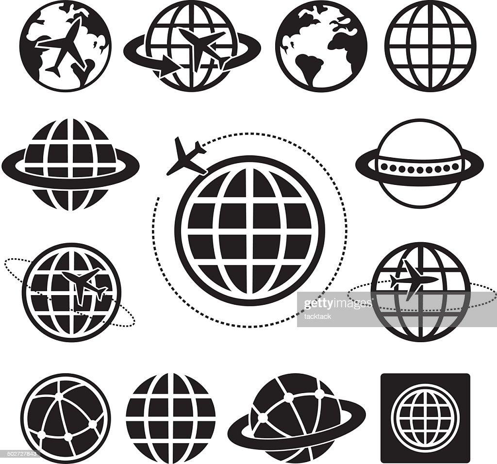 Globe vector icons set