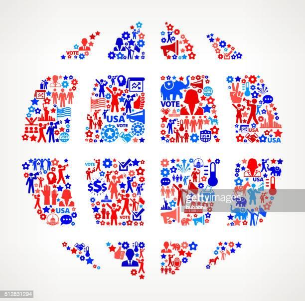 ilustrações, clipart, desenhos animados e ícones de globo votação e eleições eua patrióticas ícone padrão - usa