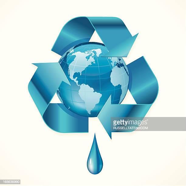 世界水のリサイクルアイコン - ウェブ2.0点のイラスト素材/クリップアート素材/マンガ素材/アイコン素材