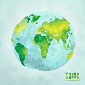 Globe watercolor eco concept