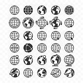 Globe web icon set. Planet Earth icons for websites.