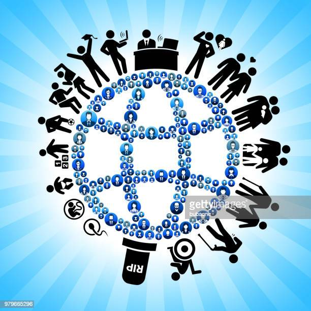 Globe Wireframe Business People Human Life Cycle Background