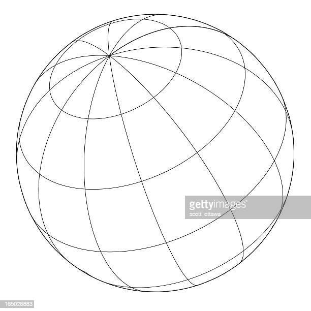 globe -  wireframe vector - latitude stock illustrations