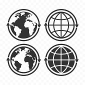 Globe with arrows concept icon set. Planet Earth and arrows icon symbols