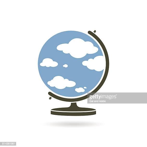 illustrazioni stock, clip art, cartoni animati e icone di tendenza di globo con cielo blu e nuvole - mappamondo