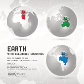 Globe with colorable countries - silver - Part two