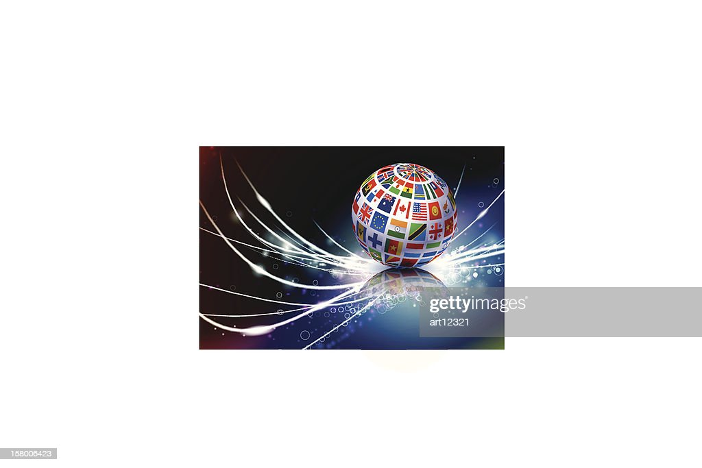 Globe with different national flags with fiber optics