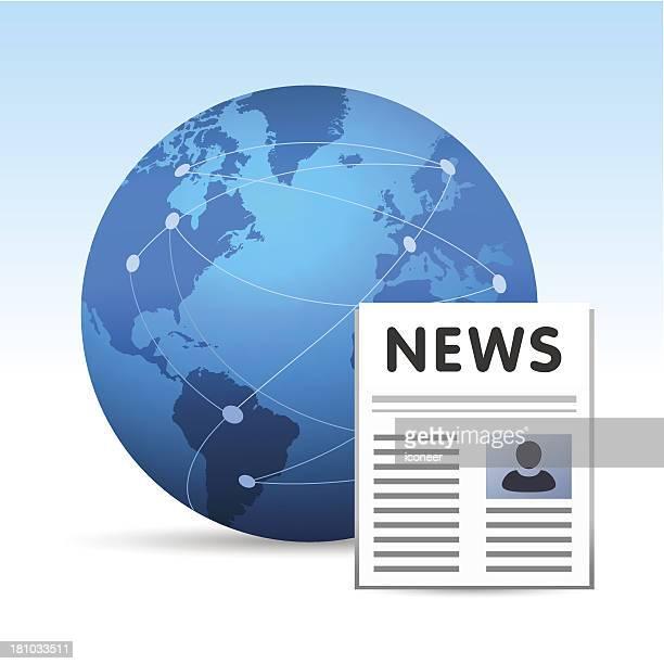 Globe with newspaper