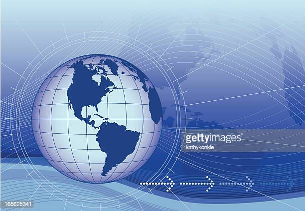 globe with radial lines and fading arrows - latitude stock illustrations
