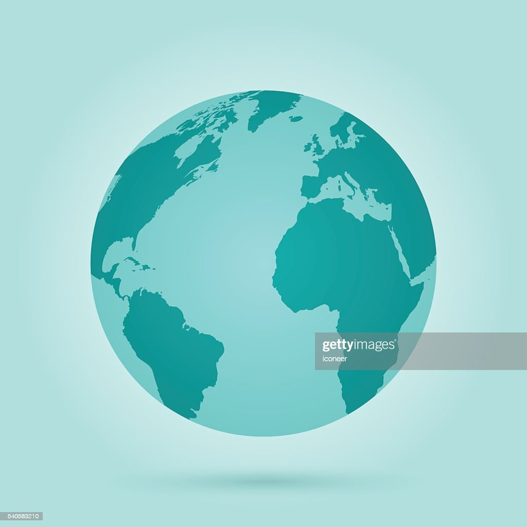 globe with world map continents on green teal background vector art