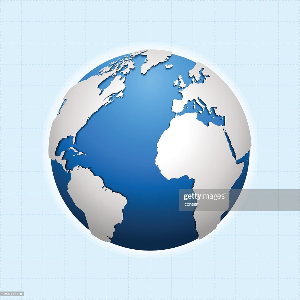 Globe with world map on light blue print background vector art globe with world map on light blue print background vector art sciox Image collections