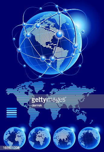 Globe world map from lines vector art getty images gumiabroncs Choice Image