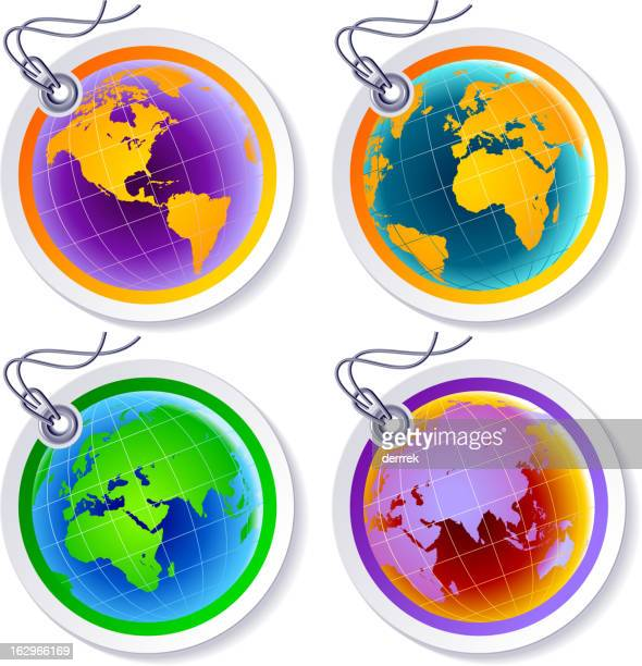 globe world map label tag - luggage tag stock illustrations, clip art, cartoons, & icons