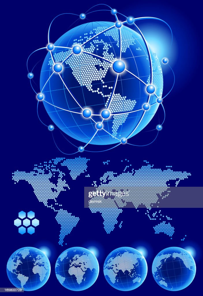 Globe world map pixellated from hexagon vector art getty images globe world map pixellated from hexagon vector art gumiabroncs Gallery