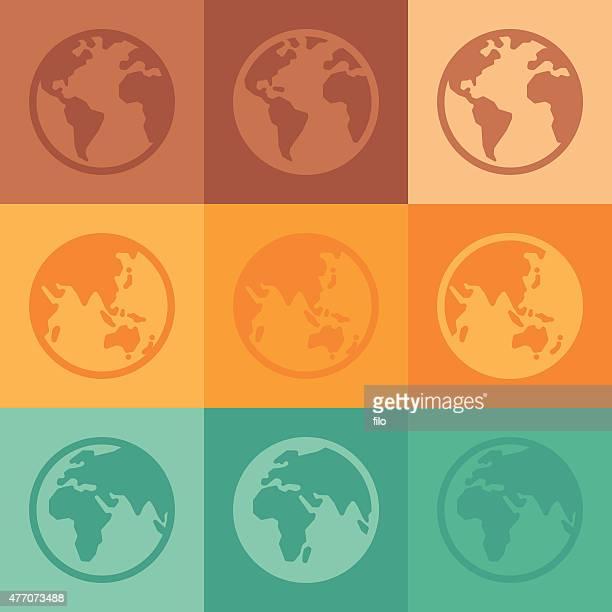 illustrations, cliparts, dessins animés et icônes de globes et vue sur la terre - hémisphère
