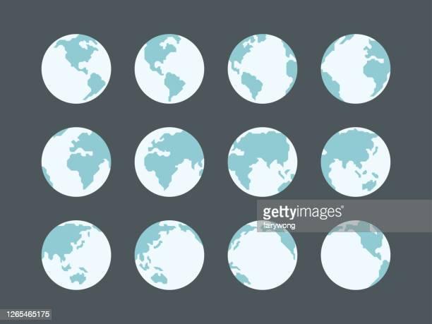 globes icon-sammlung - global stock-grafiken, -clipart, -cartoons und -symbole