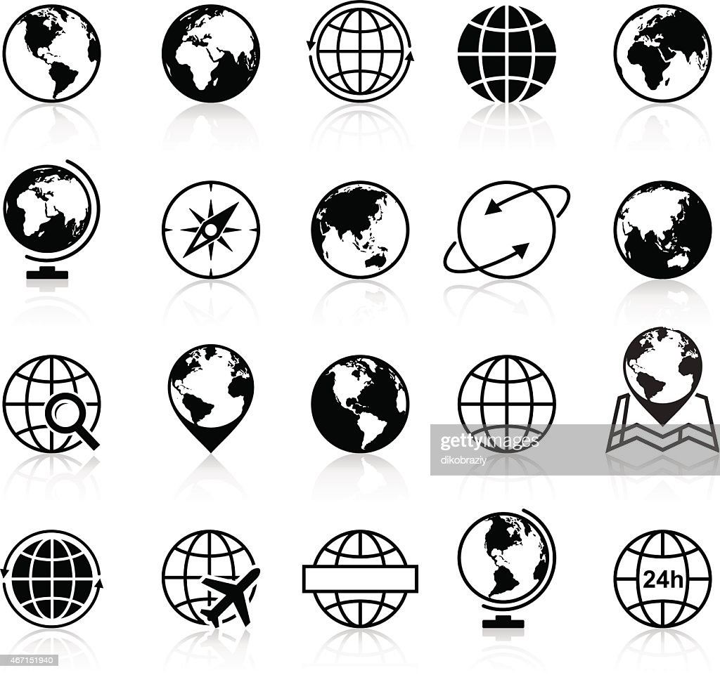 Globes Icons and Symbols - Illustration