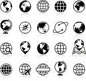 Globes Icons and Symbols - Illustration