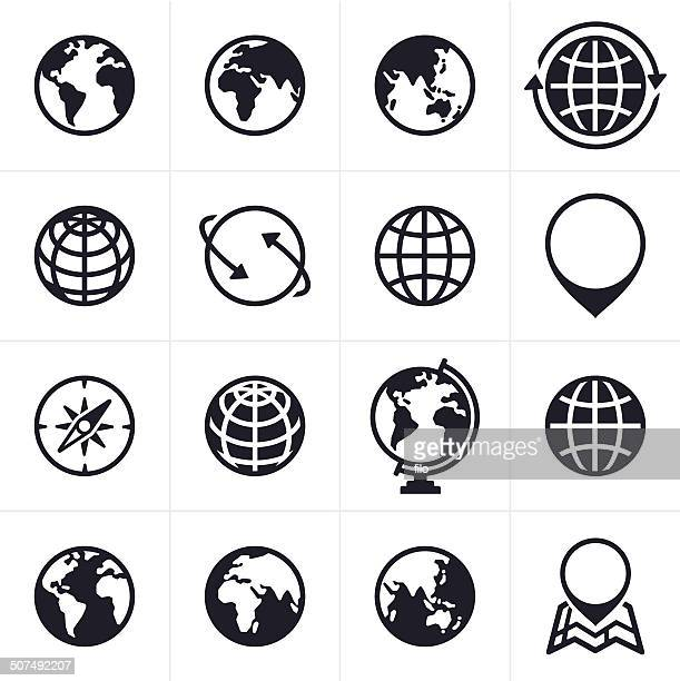 globes icons and symbols - global stock illustrations