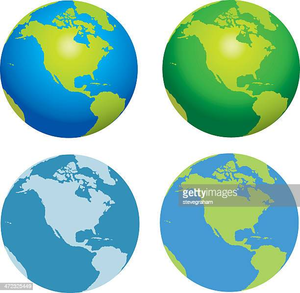 globes of the earth collection - satellite view stock illustrations
