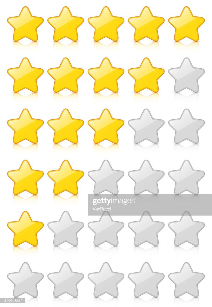 Glossy 5 Star Rating Set with reflection isolated on white background.