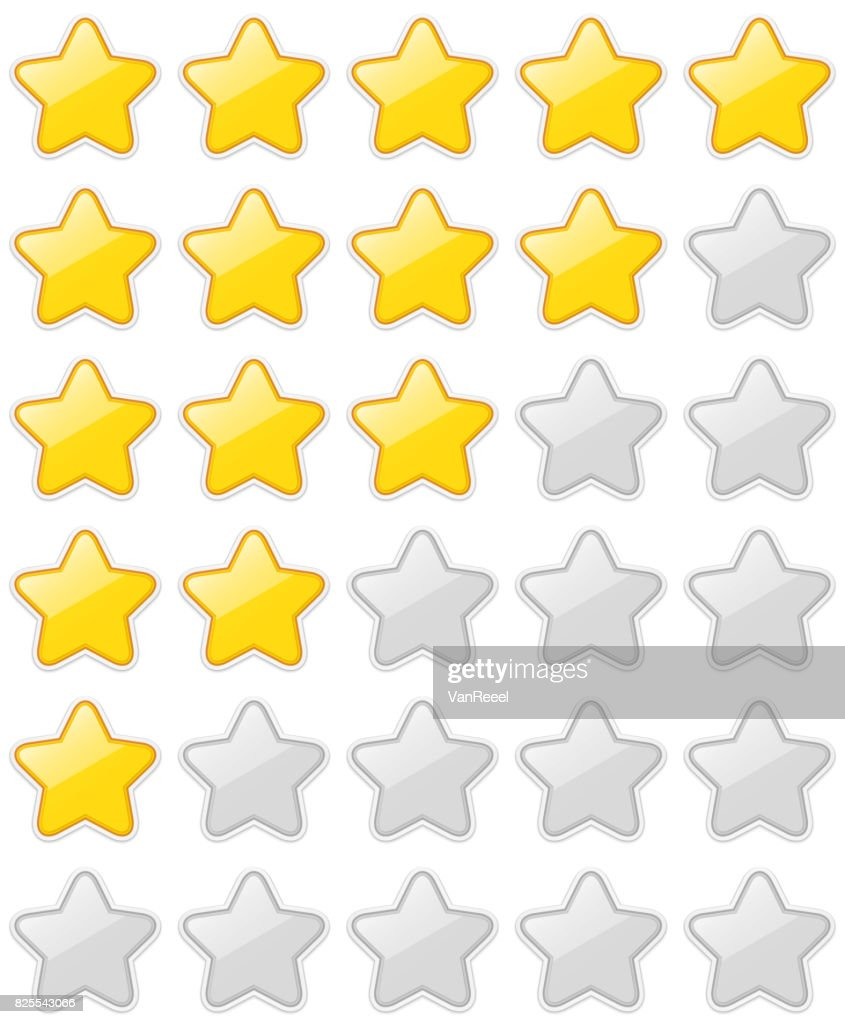 Glossy 5 Star Rating Sticker Set isolated on white background.