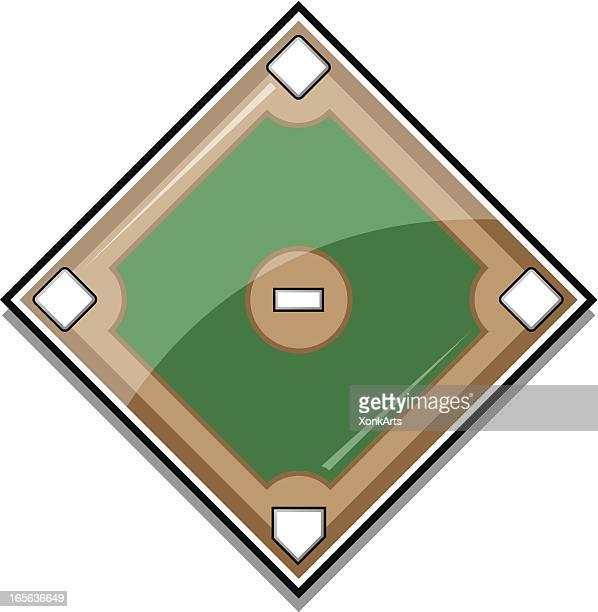 glossy baseball diamond - base sports equipment stock illustrations