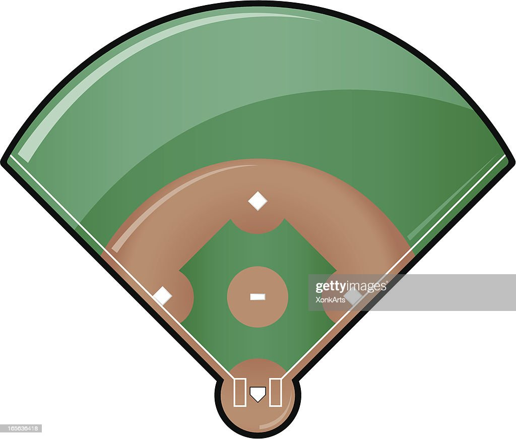 glossy baseball field vector art getty images rh gettyimages com baseball diamond outline vector free baseball diamond vector