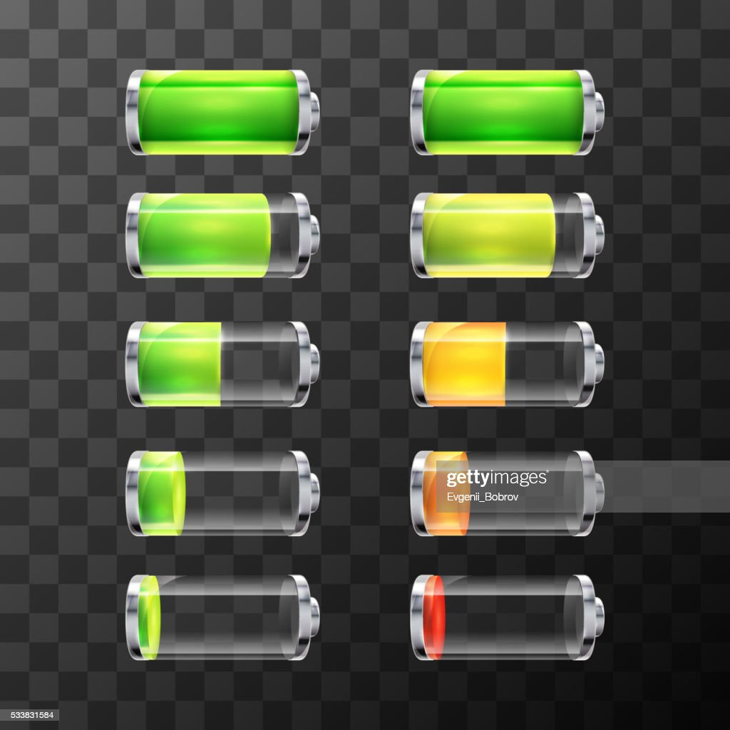 Glossy battery icons with different charge level isolated on white