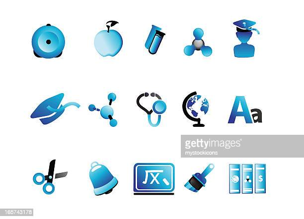 Glossy blue education icons