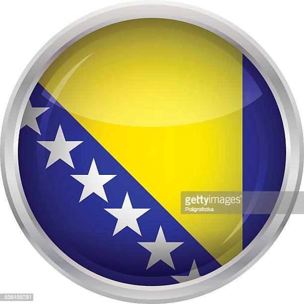 glossy button - flag of bosnia and herzegovina - balkans stock illustrations, clip art, cartoons, & icons