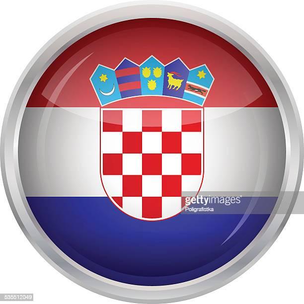glossy button - flag of croatia - croatian flag stock illustrations, clip art, cartoons, & icons