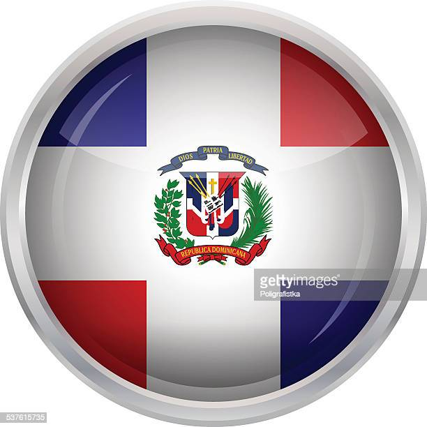 glossy button - flag of dominican republic - dominican republic flag stock illustrations