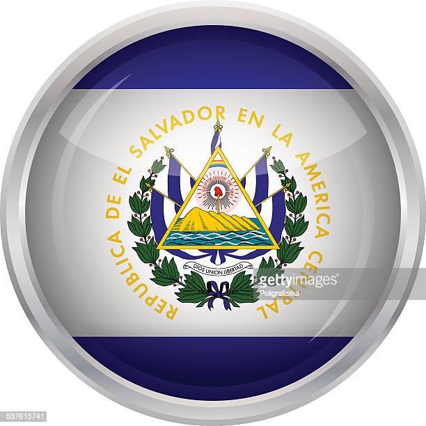 光沢のあるボタンフラグのエルサルバドル - エルサルバドル国旗点のイラスト素材/クリップアート素材/マンガ素材/アイコン素材