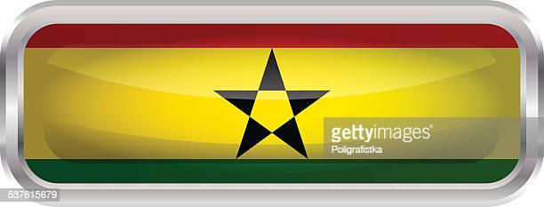 glossy button - flag of ghana - ghana stock illustrations, clip art, cartoons, & icons