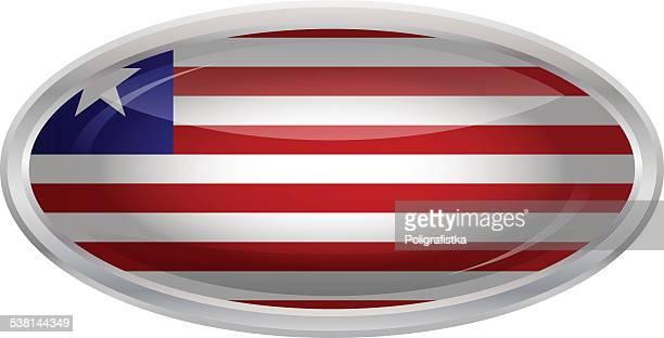 glossy button - flag of liberia - liberia stock illustrations, clip art, cartoons, & icons