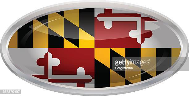 glossy button - flag of maryland - maryland us state stock illustrations, clip art, cartoons, & icons