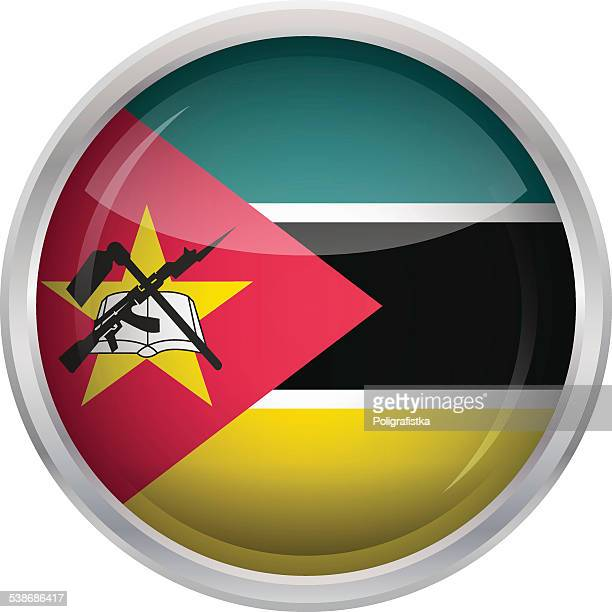 glossy button - flag of mozambique - mozambique stock illustrations, clip art, cartoons, & icons