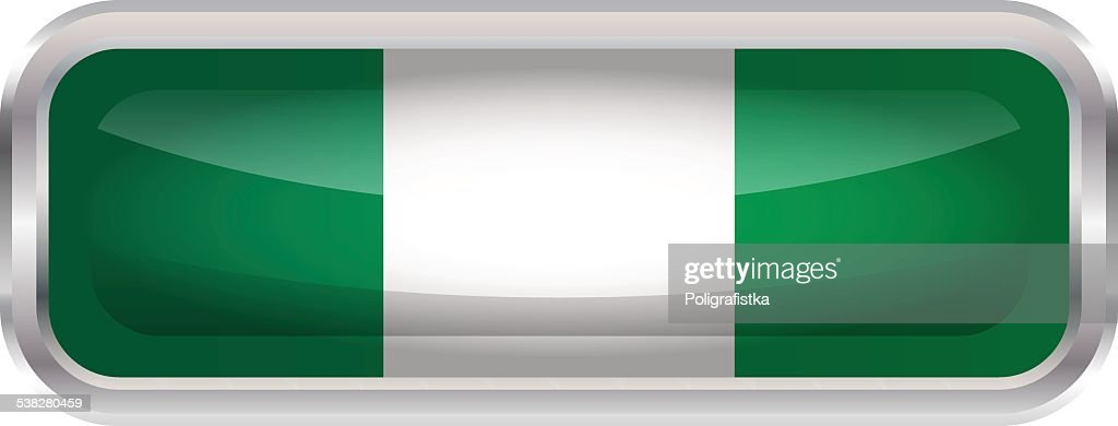 Glossy Button - Flag of Nigeria