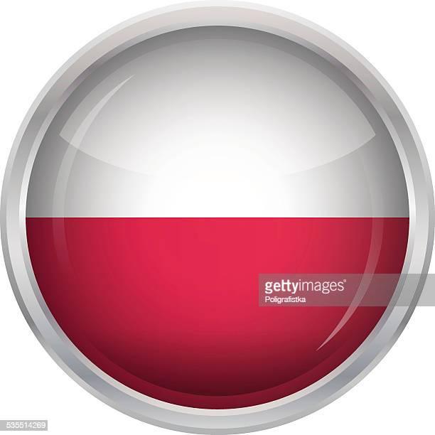 glänzend-schaltfläche-flagge von polen - polnische flagge stock-grafiken, -clipart, -cartoons und -symbole
