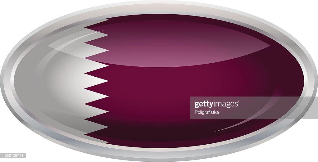 Glossy Button - Flag of Qatar : stock illustration