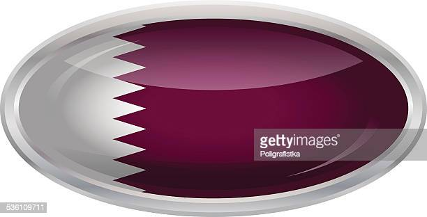 glossy button - flag of qatar - qatar stock illustrations, clip art, cartoons, & icons