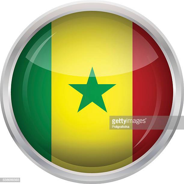 glossy button - flag of senegal - senegal stock illustrations, clip art, cartoons, & icons