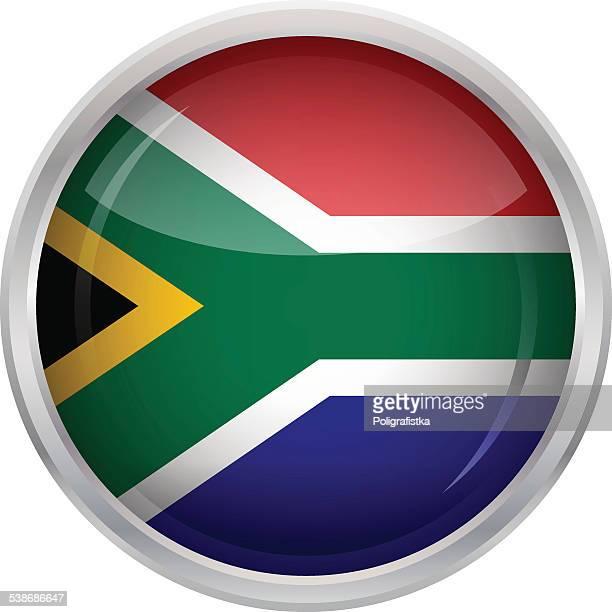 ilustrações, clipart, desenhos animados e ícones de brilhante botão de bandeira da áfrica do sul - bandeira sul africana
